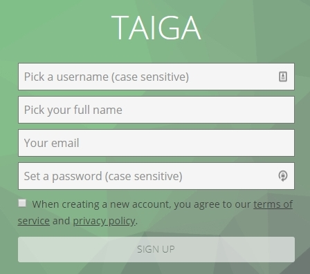 taiga sign-up